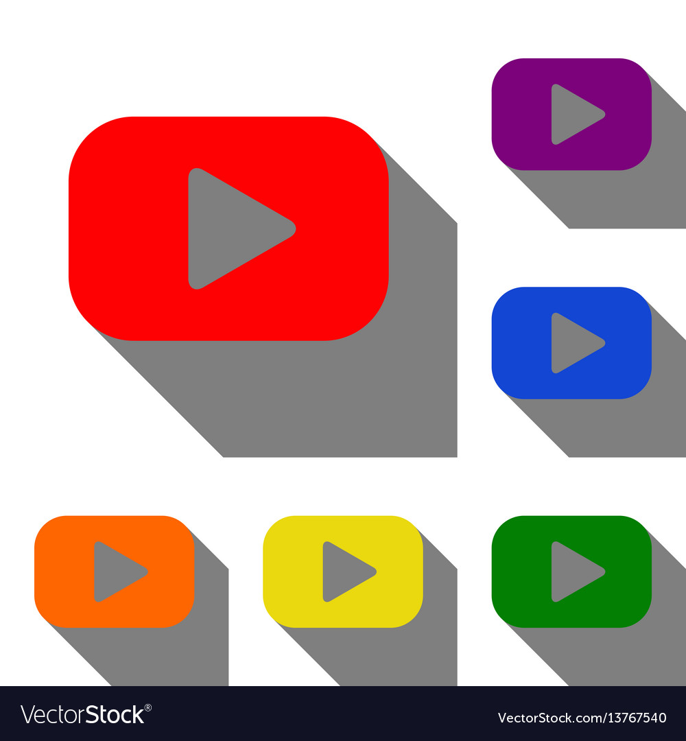 Play button sign set of red orange yellow