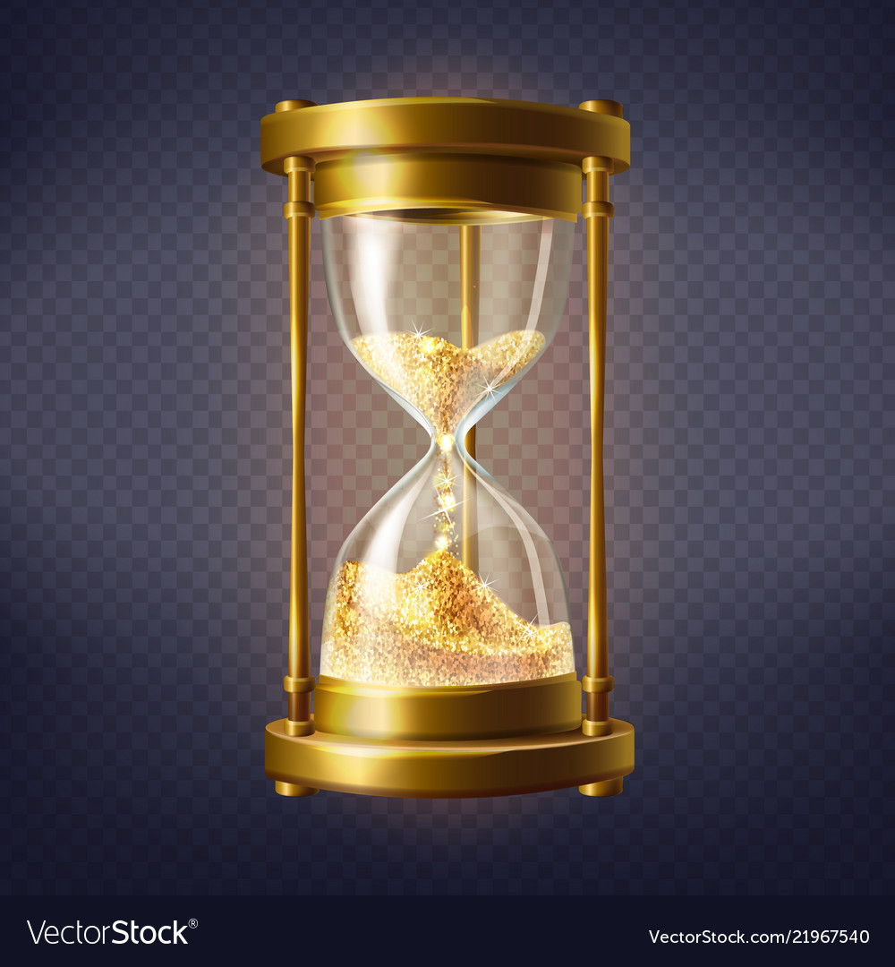Realistic hourglass with golden sand