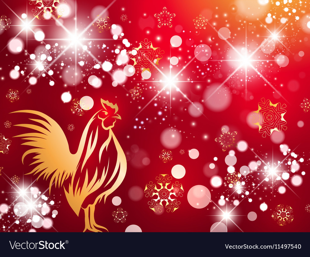 Red Fire Rooster Bright Background
