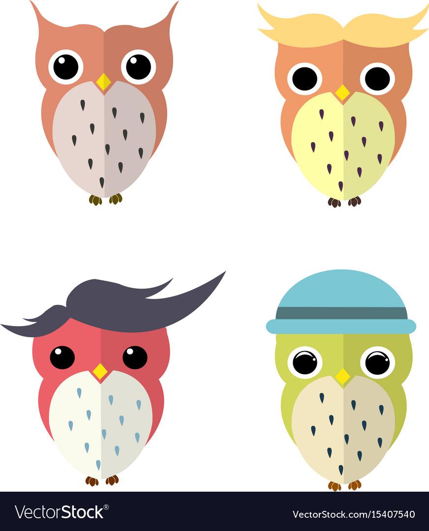 Set of owls cartoon vector image