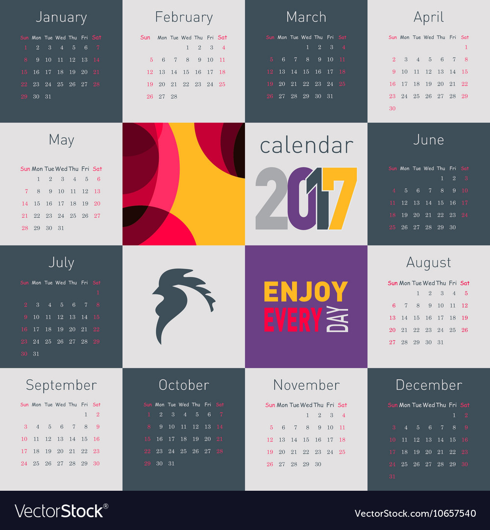 Simple calendar 2017 with rooster symbol of 2017