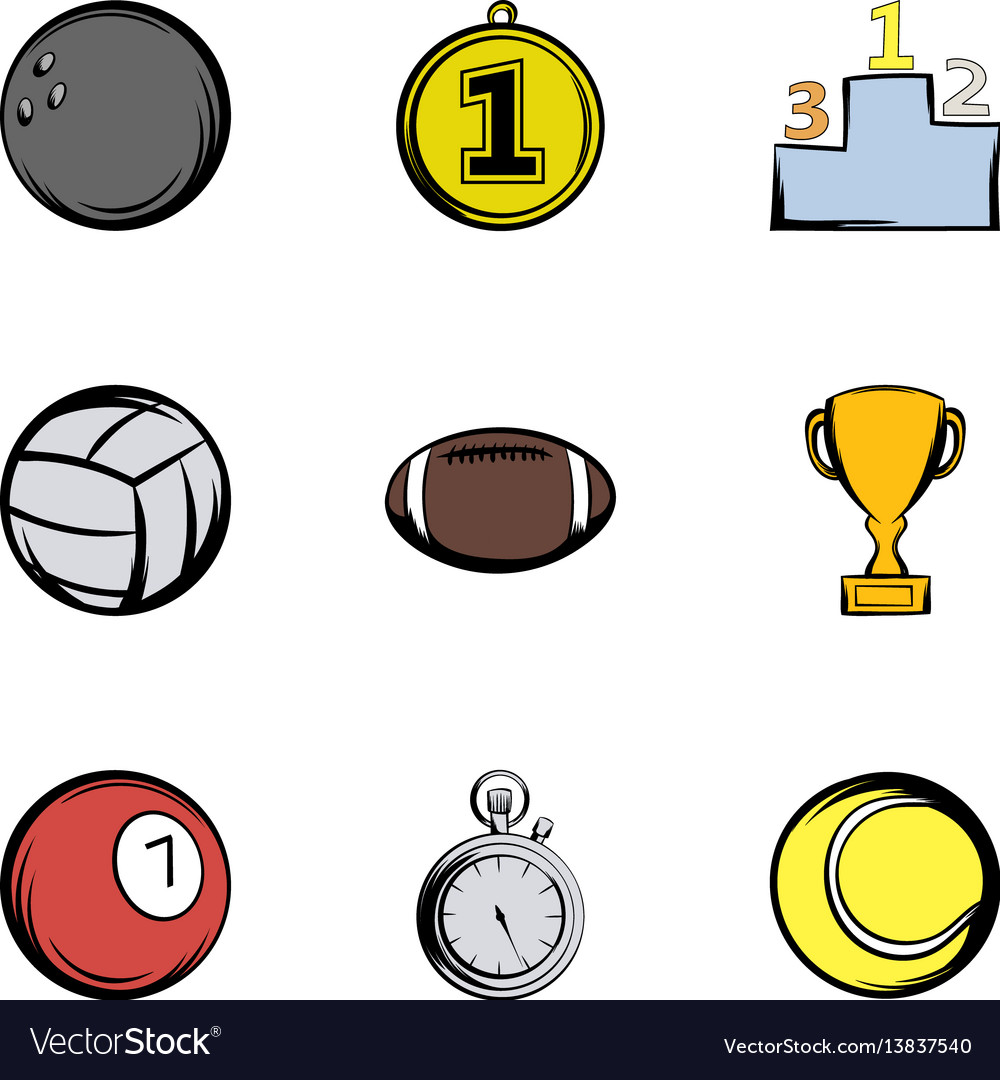 Sport balls icons set cartoon style