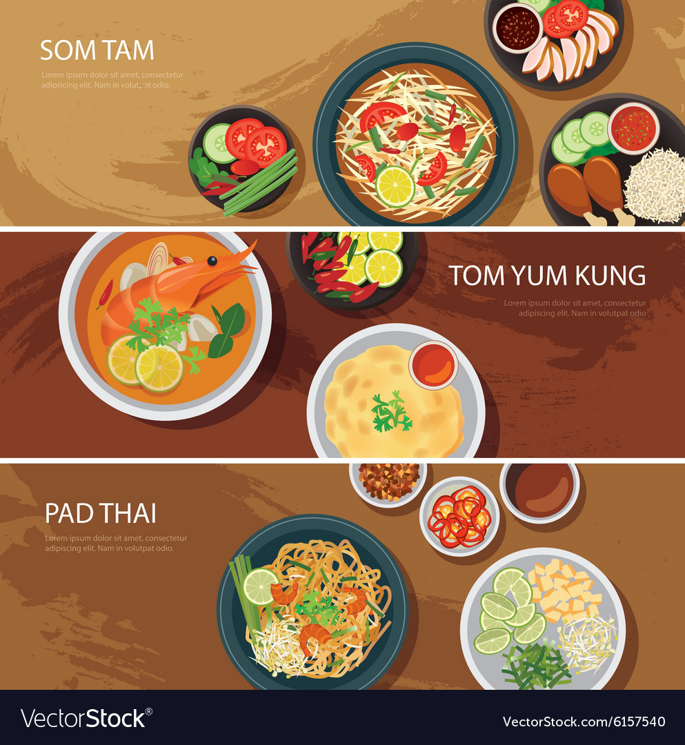 Thai food web banner flat design vector image