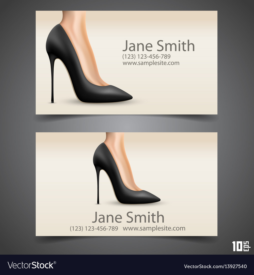 e52a35f87f38 Womens shoe business card Royalty Free Vector Image