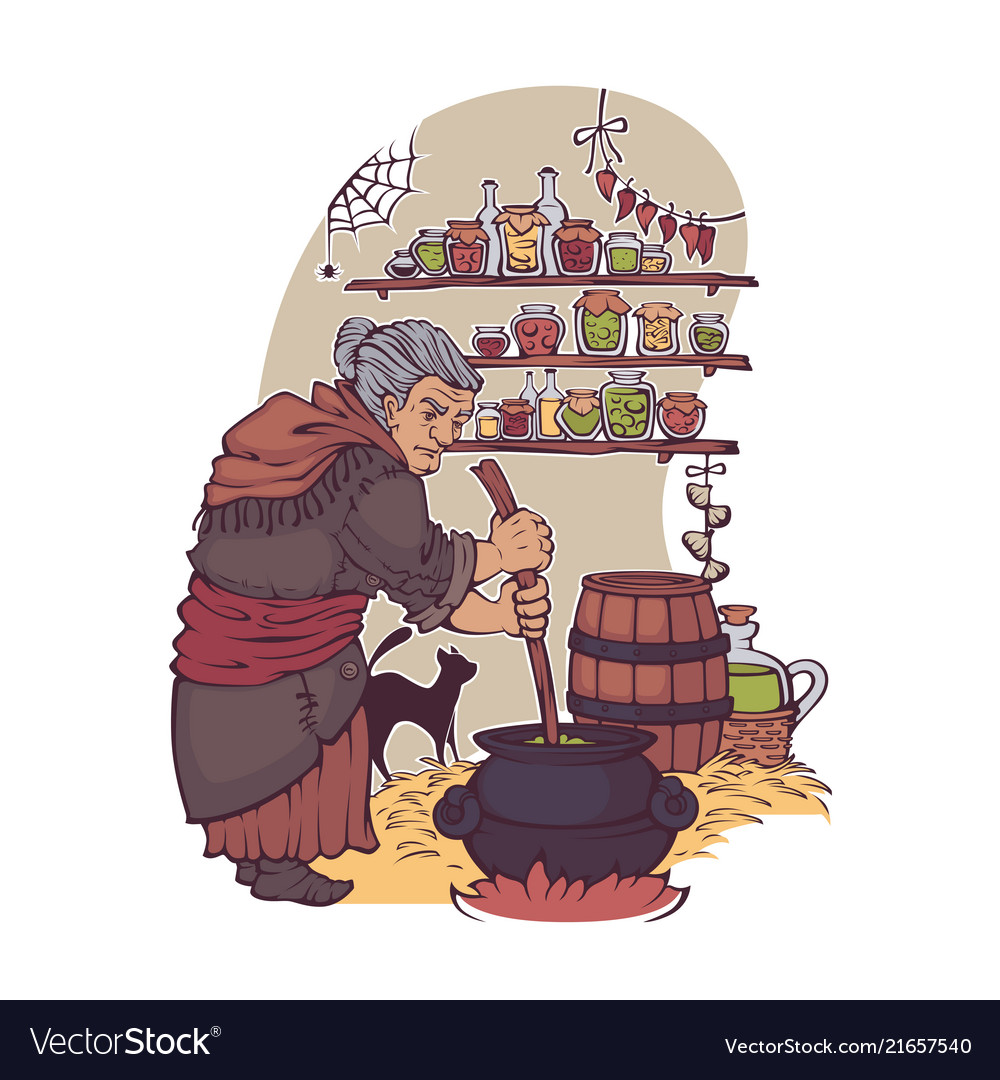 Working witch old lady making a magic potion