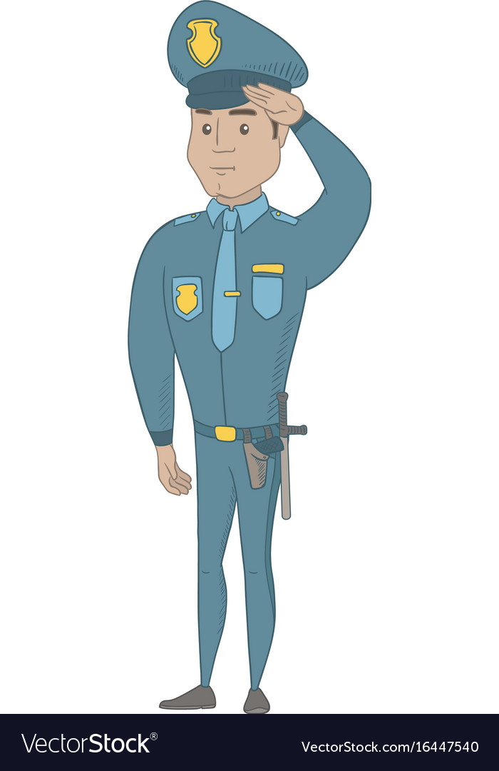 Young hispanic police officer saluting