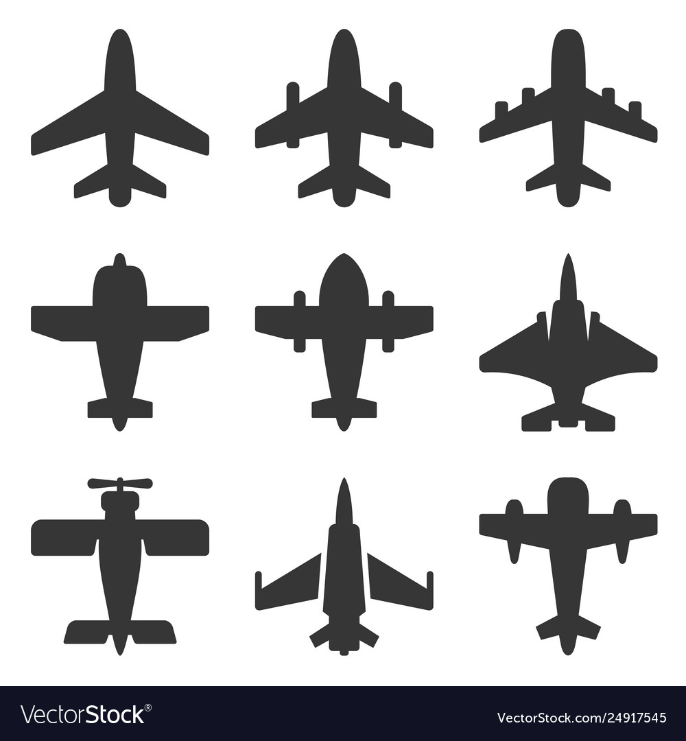 Airplane icons set on a white background