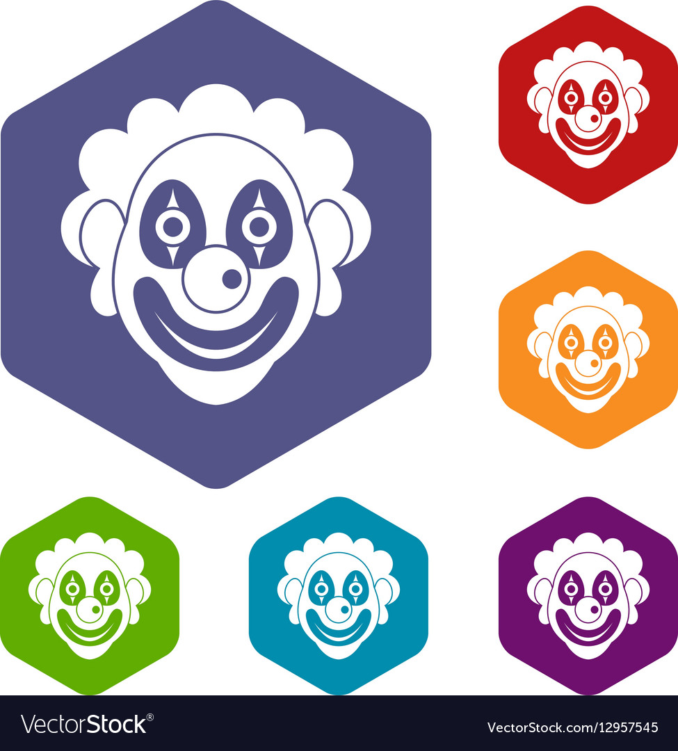 Clown icons set