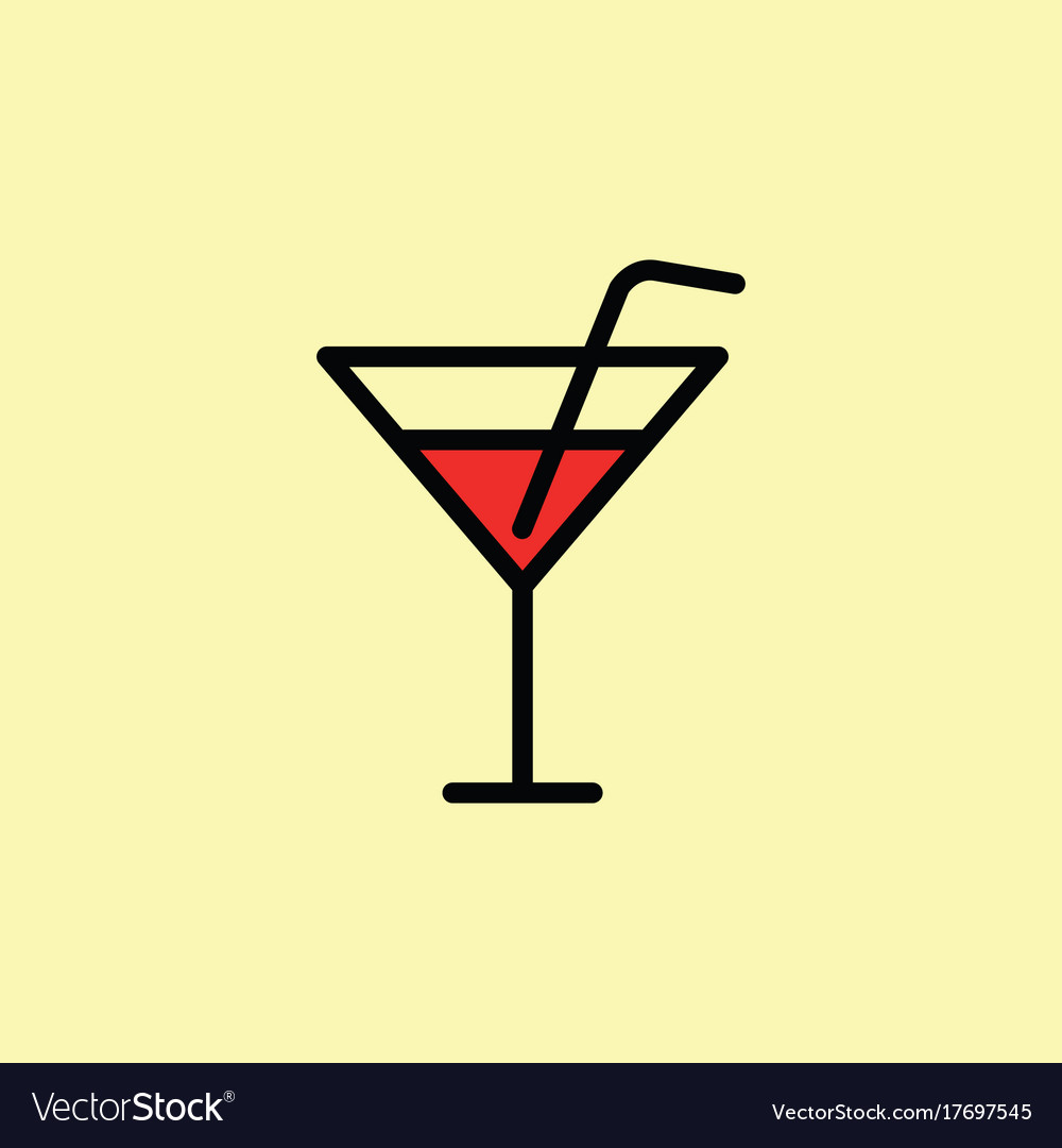 Cocktail icon thin line color