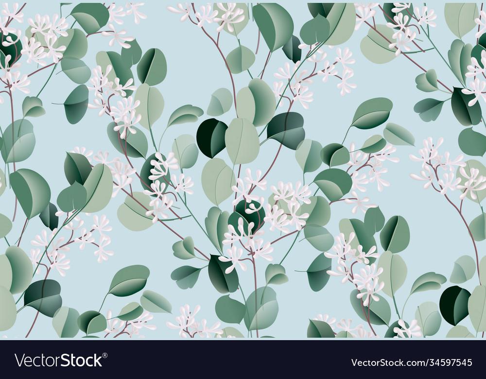 Eucalyptus watercolor leaf seamless pattern