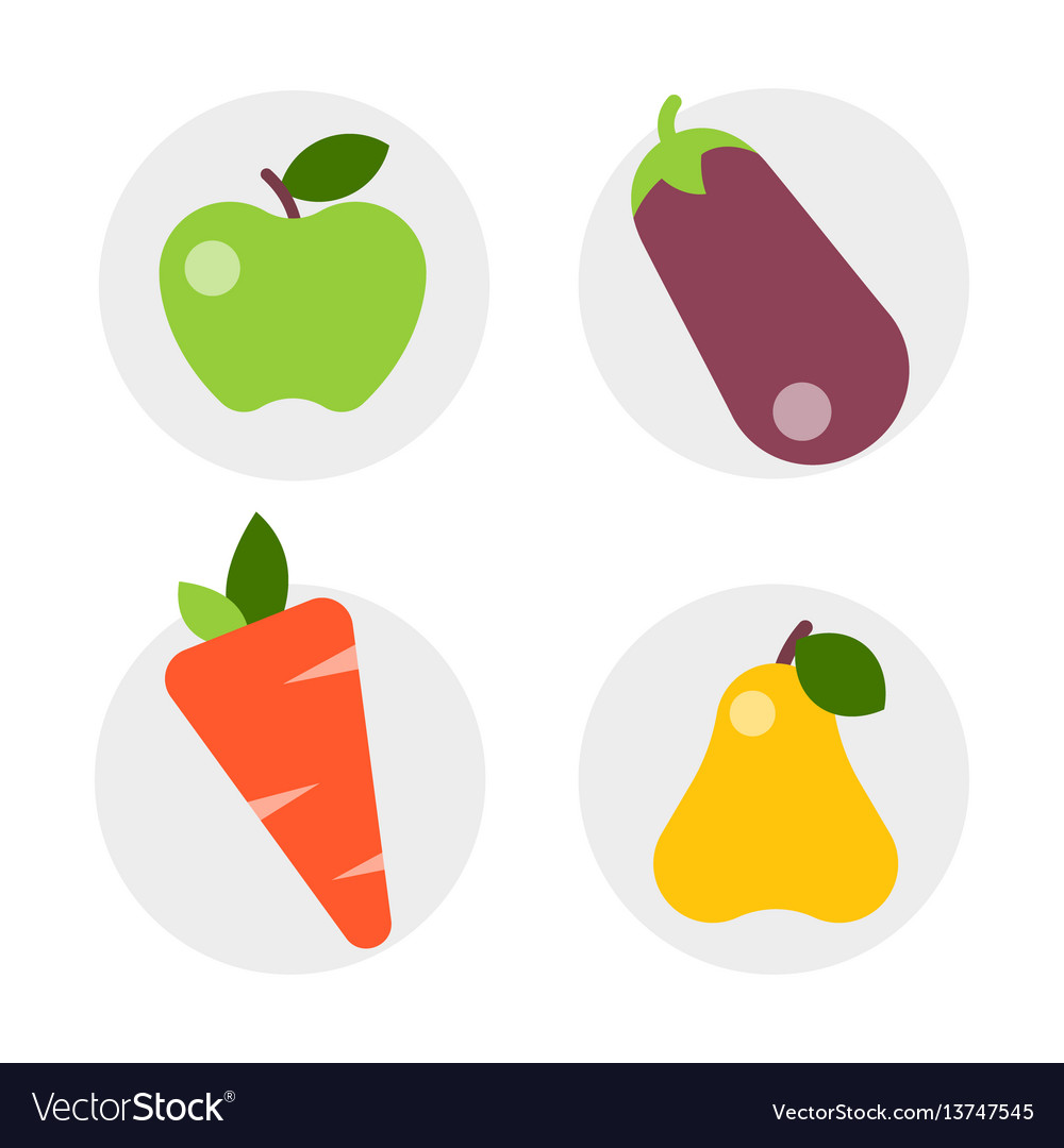Flat icons vegetables of healthy lifestyle diet