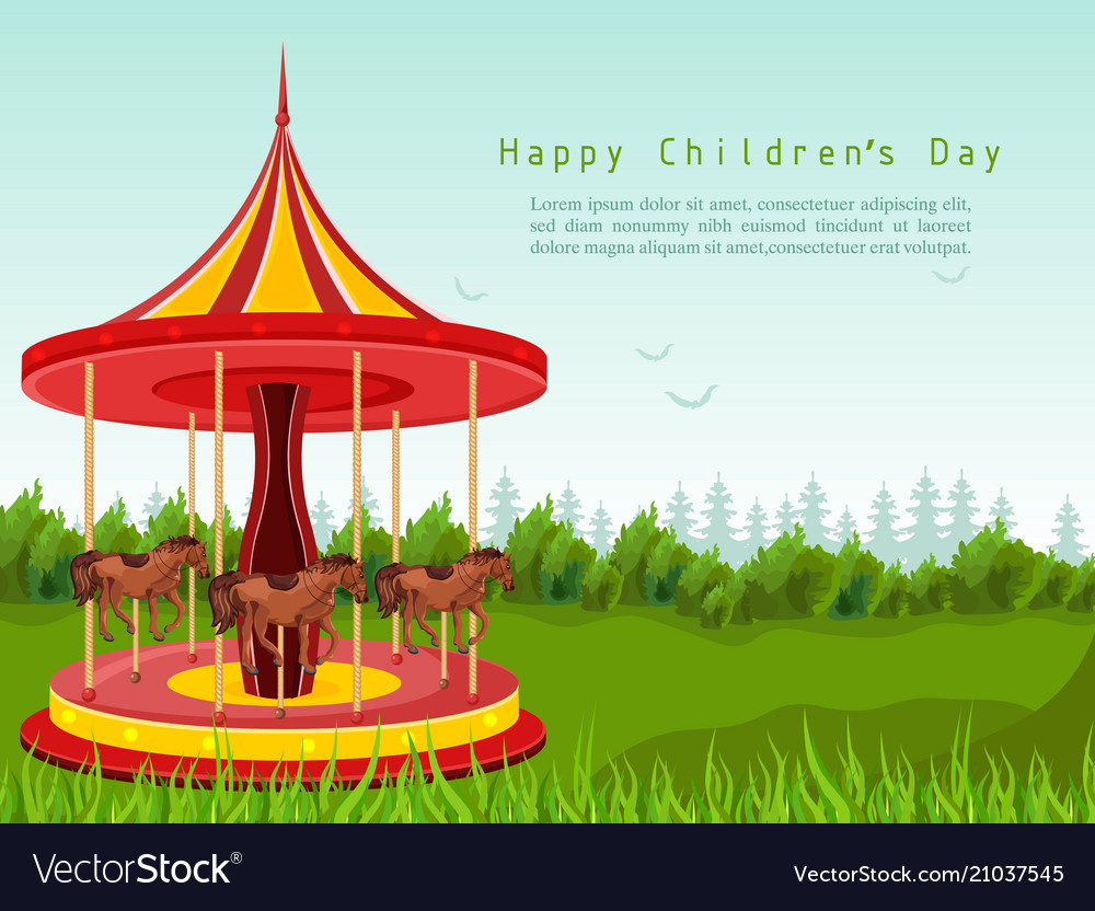 Happy children day card with horse carousel