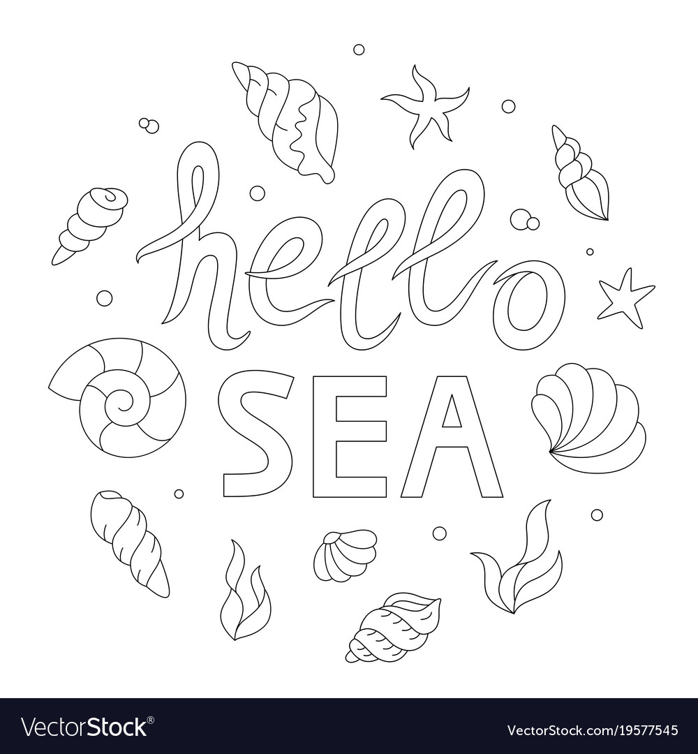 Hello sea lettering adult coloring page