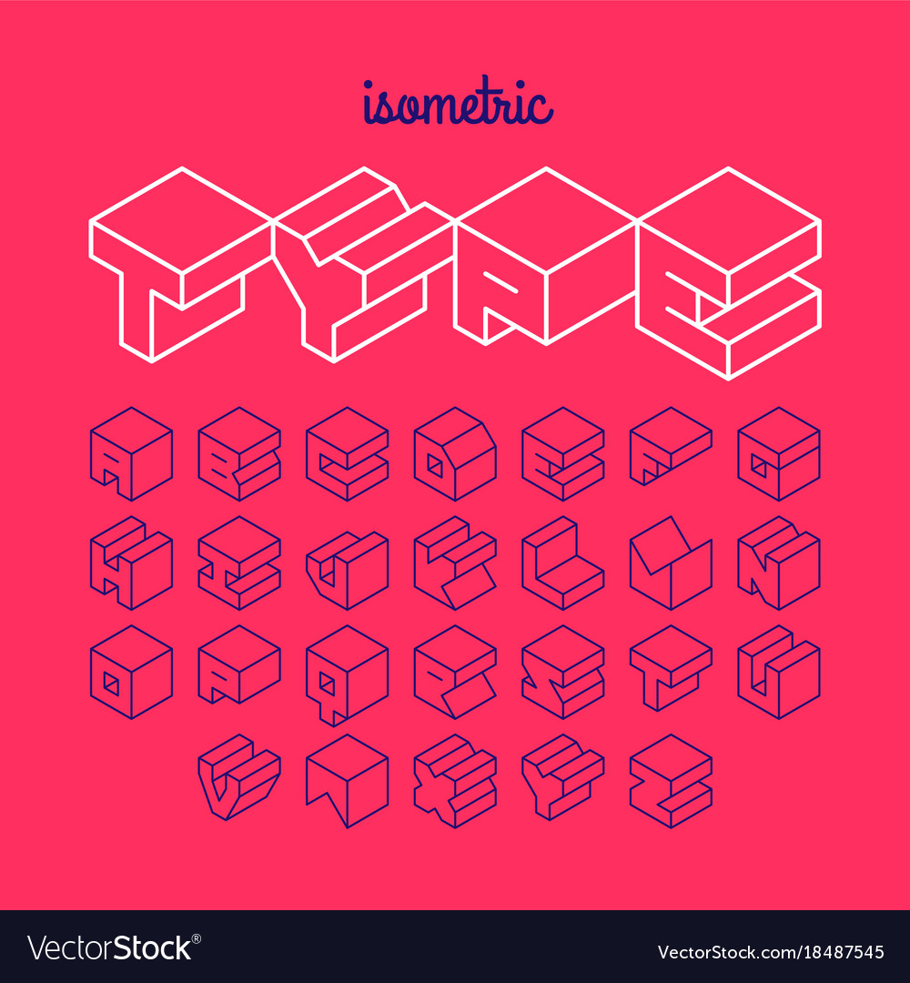 Isometric 3d outline font three-dimensional