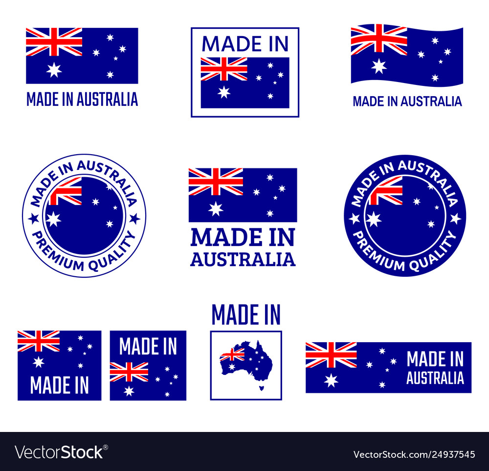 Made in australia labels set made in commonwealth