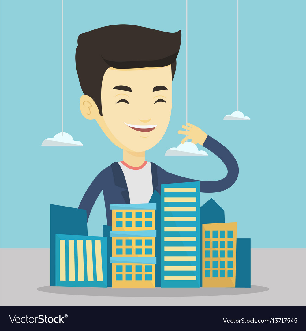 Real estate agent presenting city model