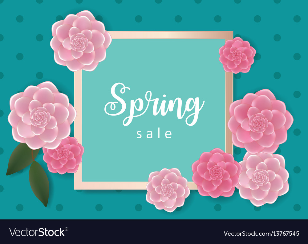 Spring sale banner with flowers vector image