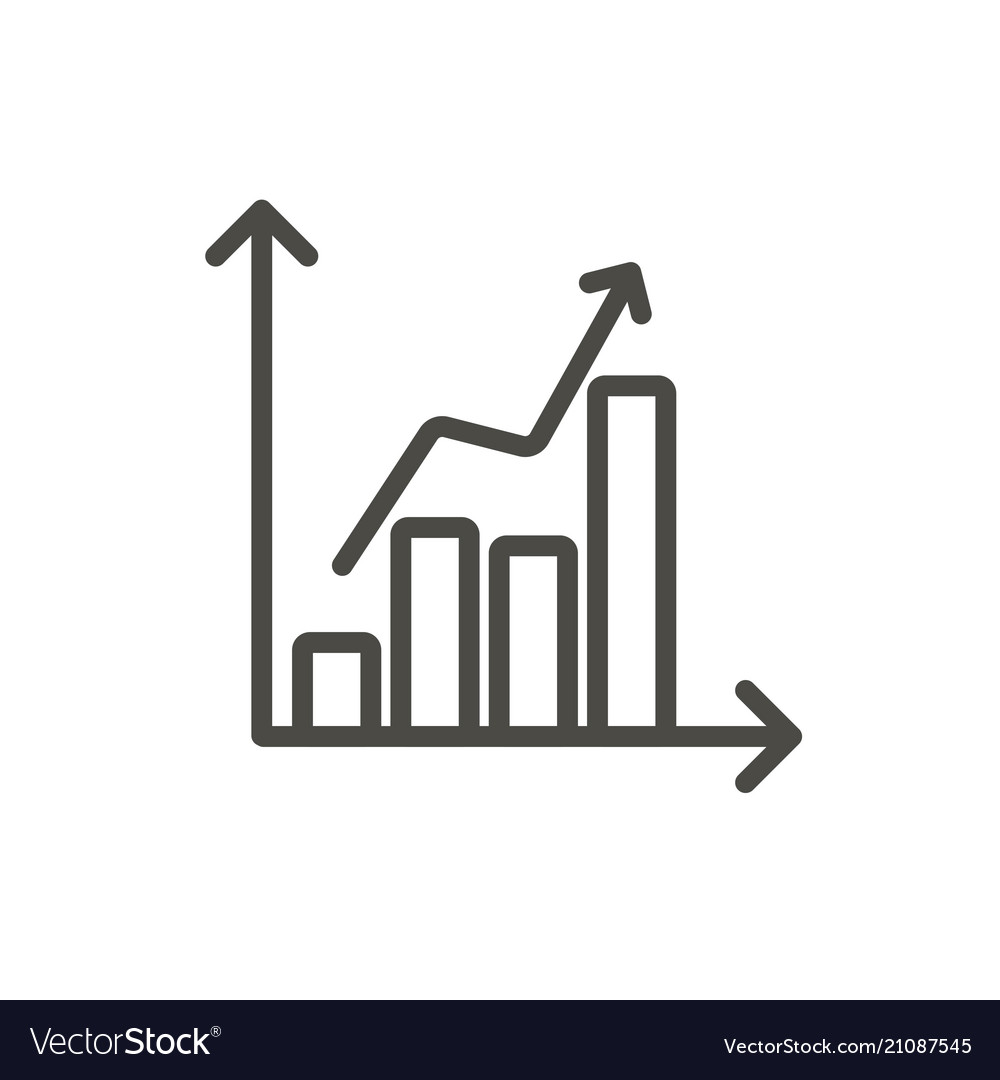 statistic chart icon line graph symbol royalty free vector