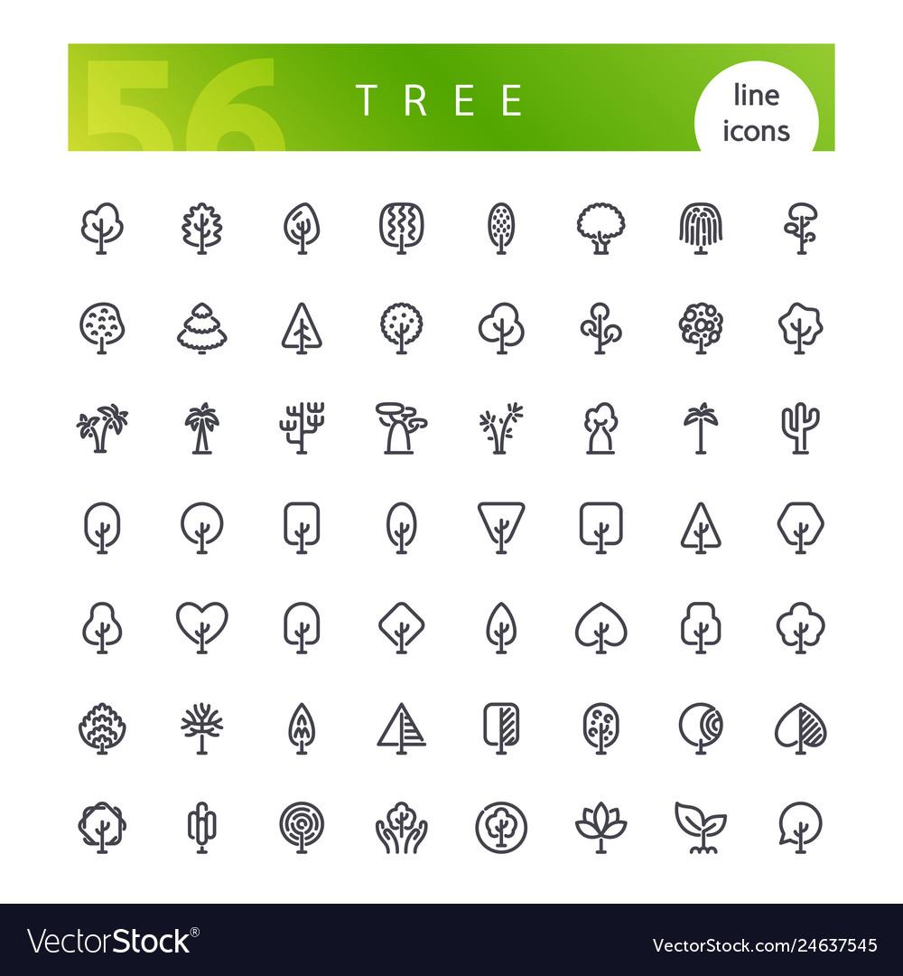 Tree line icons set