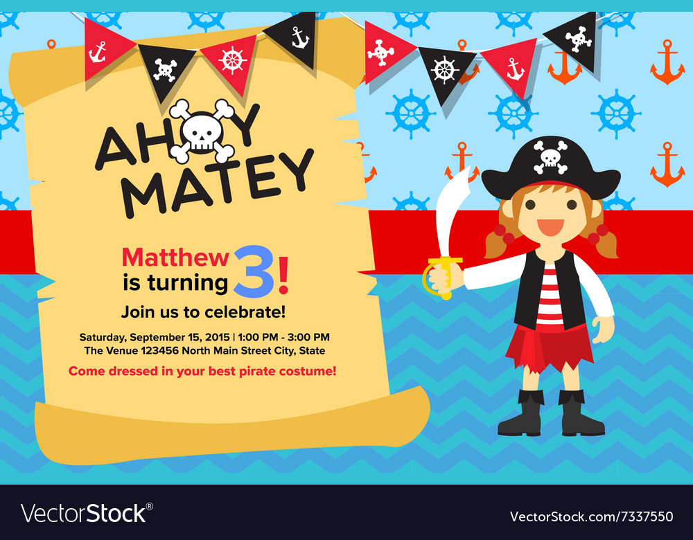 ahoy matey pirate girl birthday invitation card vector image