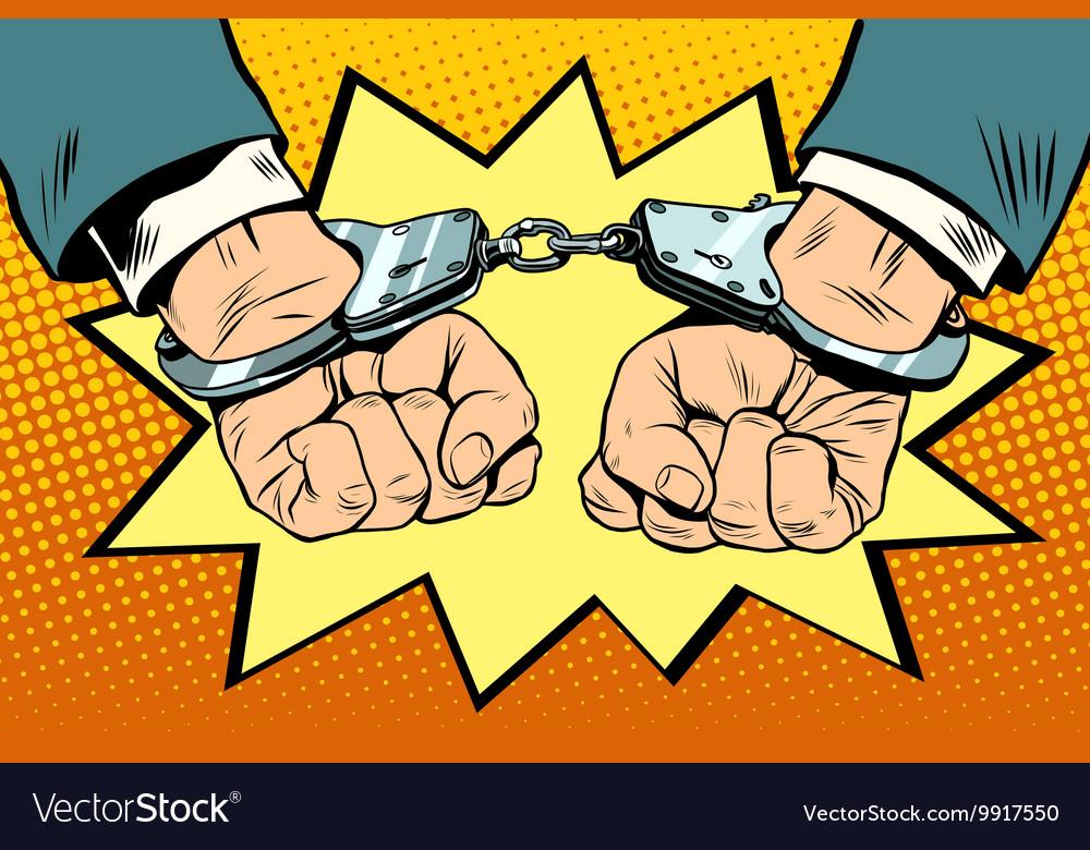 Arrest hands cuffed