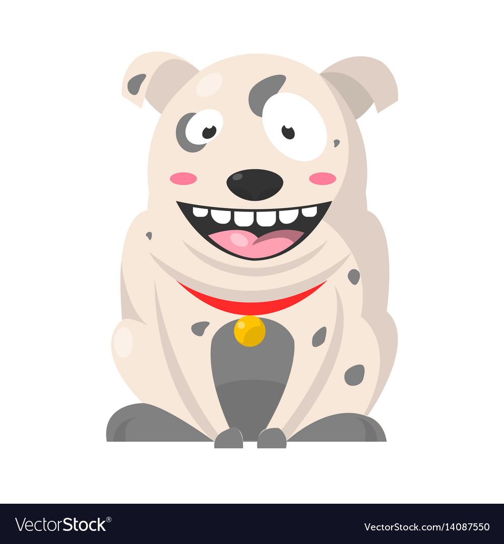 Big smiling bulldog with grey spots huge eyes