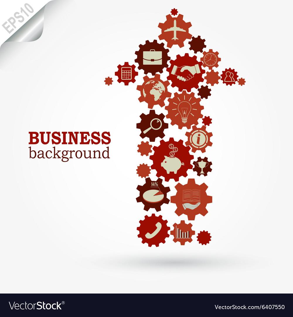 Business design Gears in Arrow vector image