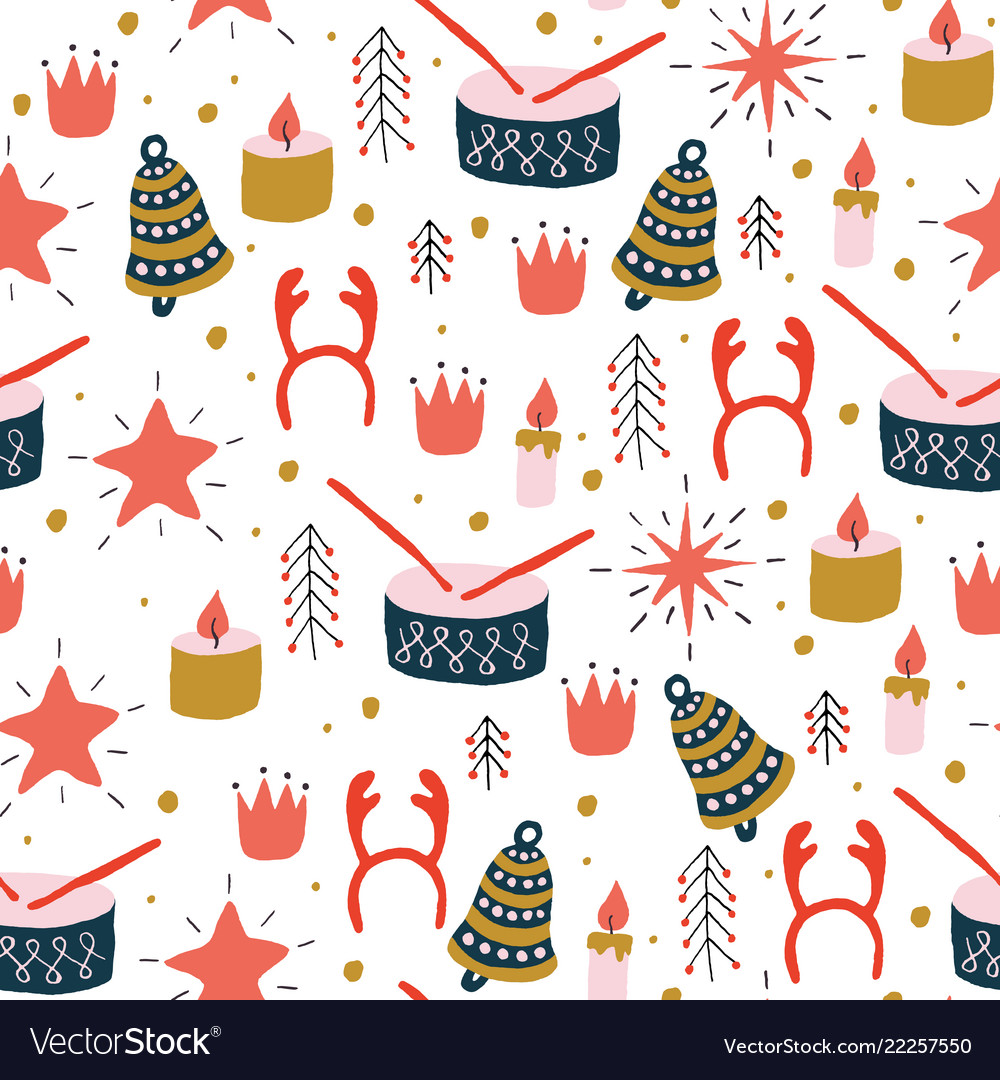 Christmas seamless pattern with toys