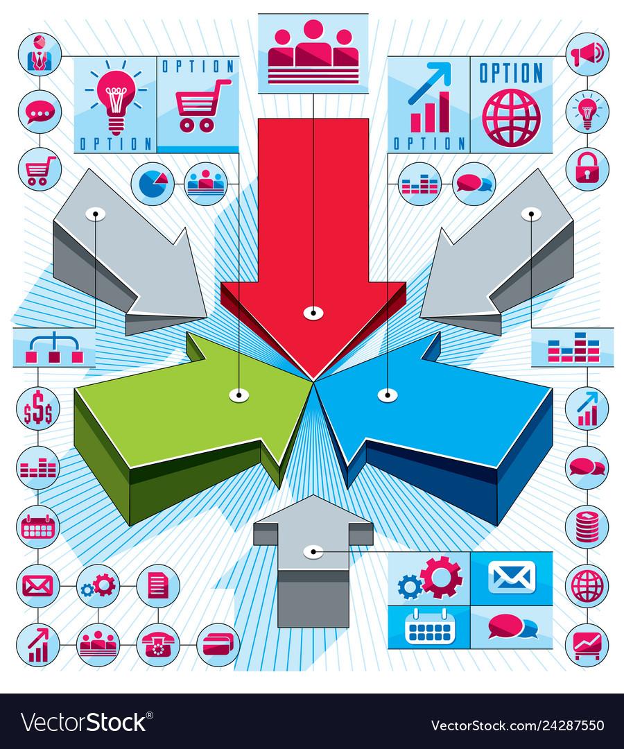 Creative infographics composition 3d arrows