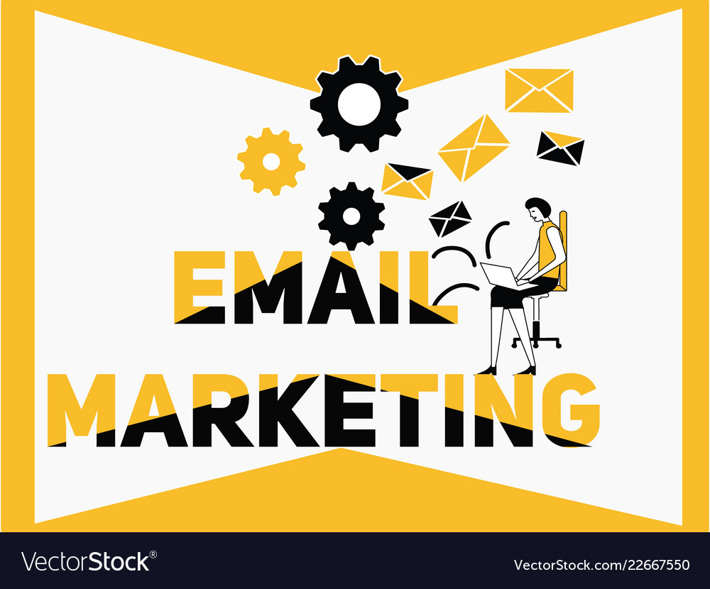 Creative word concept email marketing and people