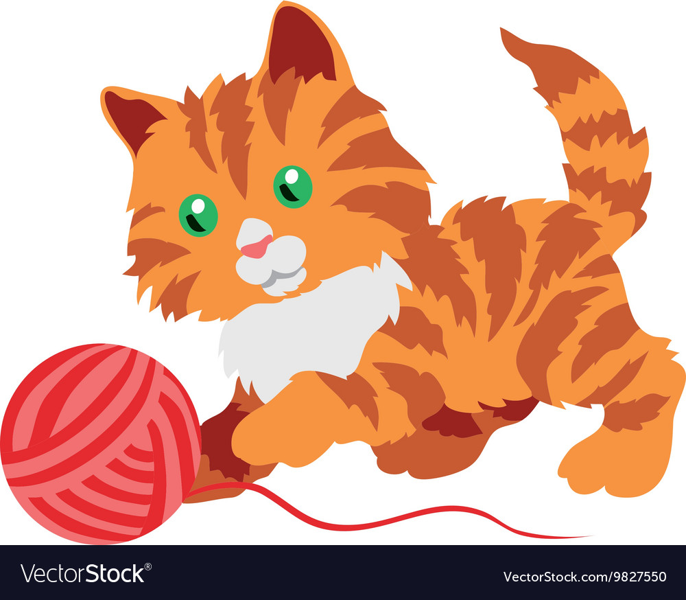 Cute orange kitten playing with a clew isolated on