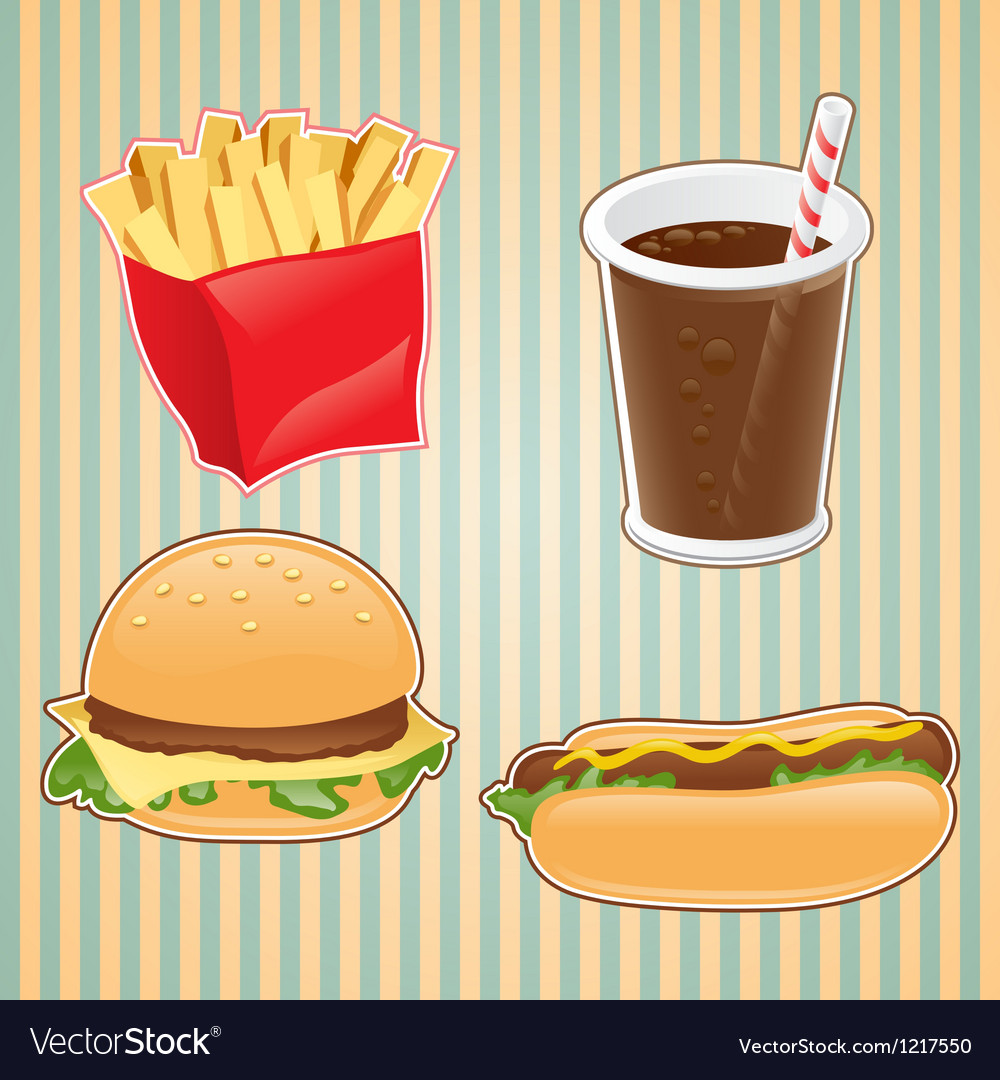Fast food icon of burger french-fry and drink