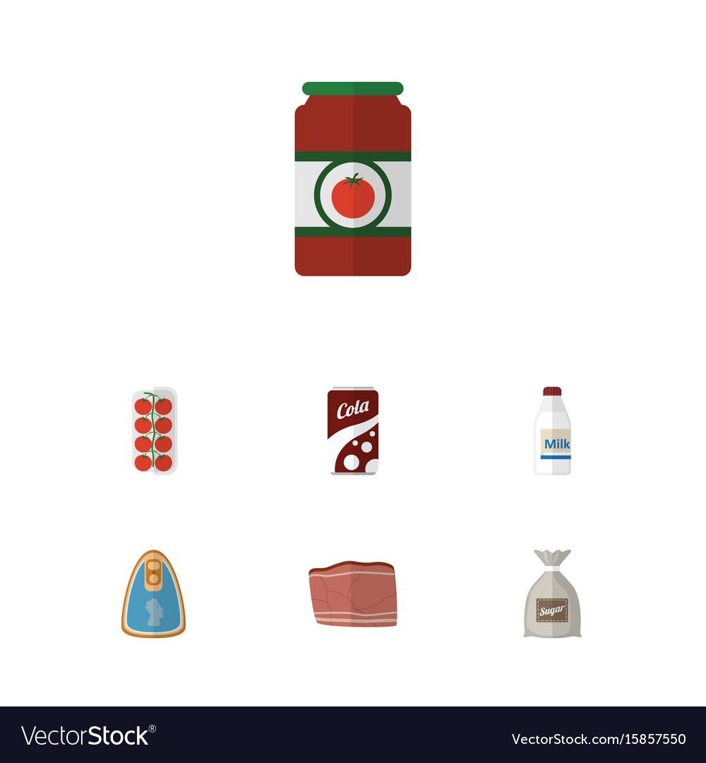 Flat icon food set of bottle sack fizzy drink vector image