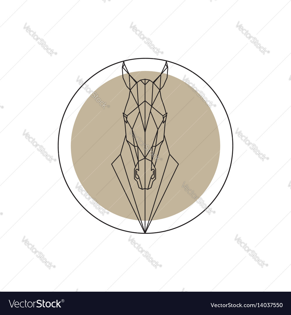 Horse Head Geometric Silhouette Isolated Vector Image