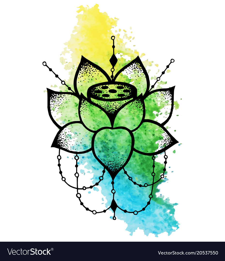 Lotus Flower With String Of Beads Royalty Free Vector Image