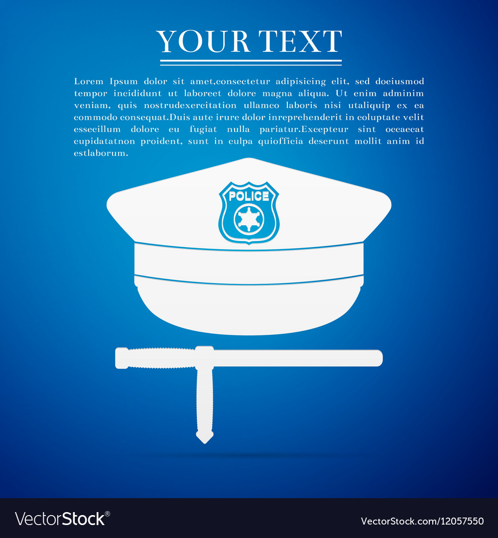 Police cap and baton flat icon on blue background
