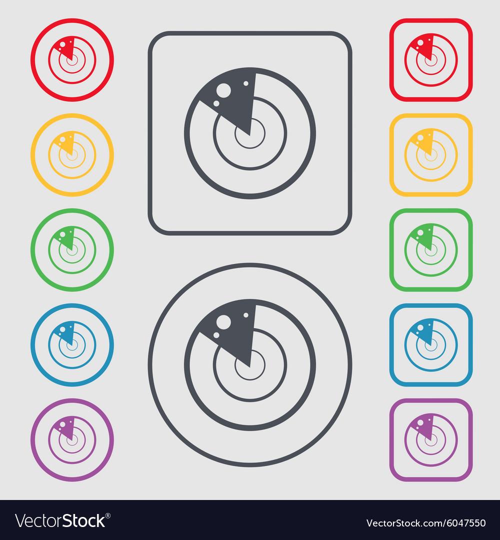 Radar icon sign Symbols on the Round and square