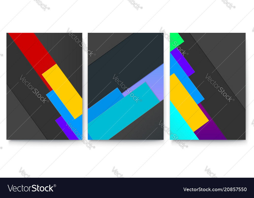 Set of covers with geometric colored shapes