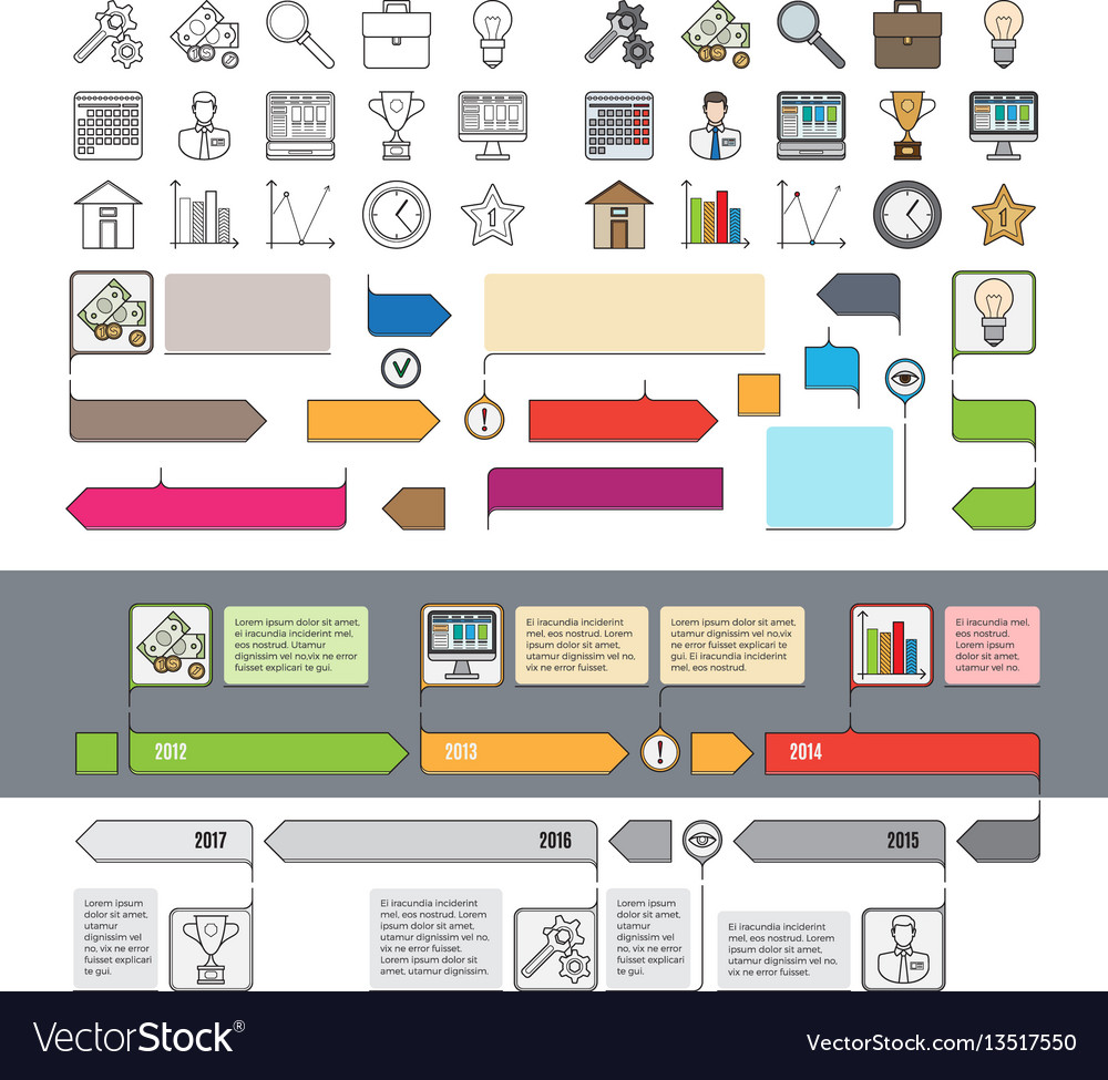 Set of timeline icons with infographic diagrams