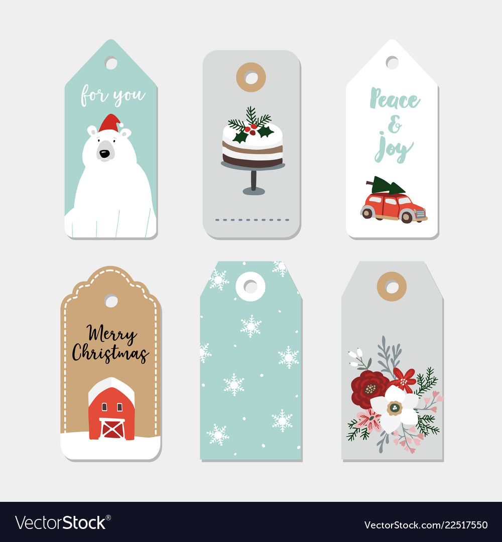 Vintage christmas gift tags set hand drawn labels