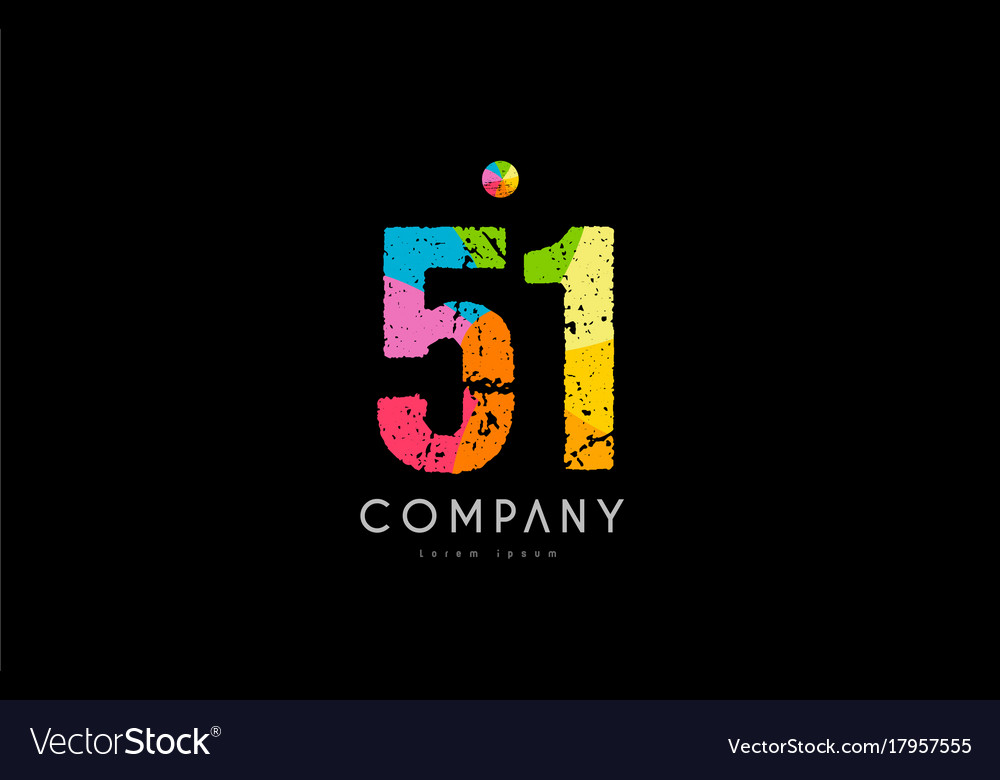 51 number grunge color rainbow numeral digit logo