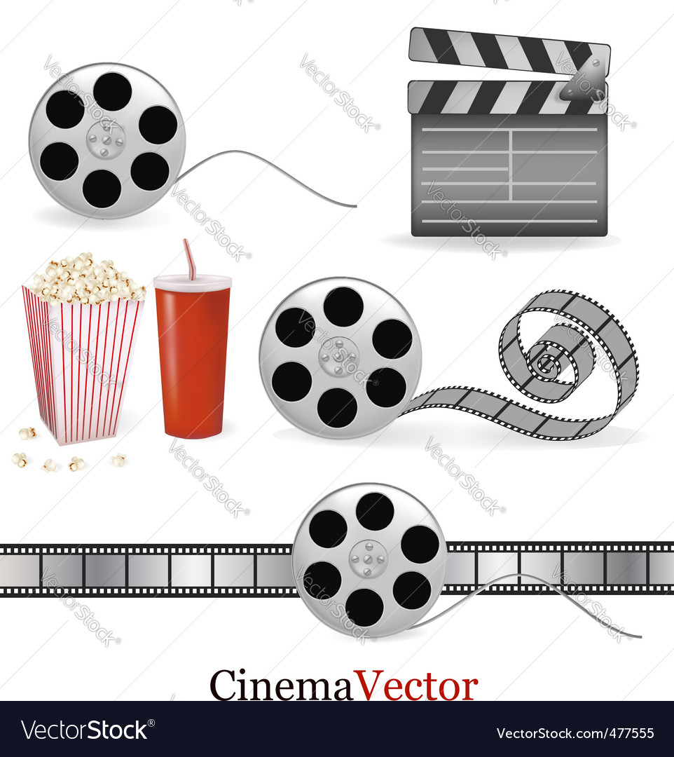 Big group with cinema elements vector image