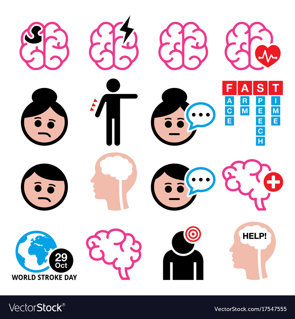 Brain stroke health medical icons set