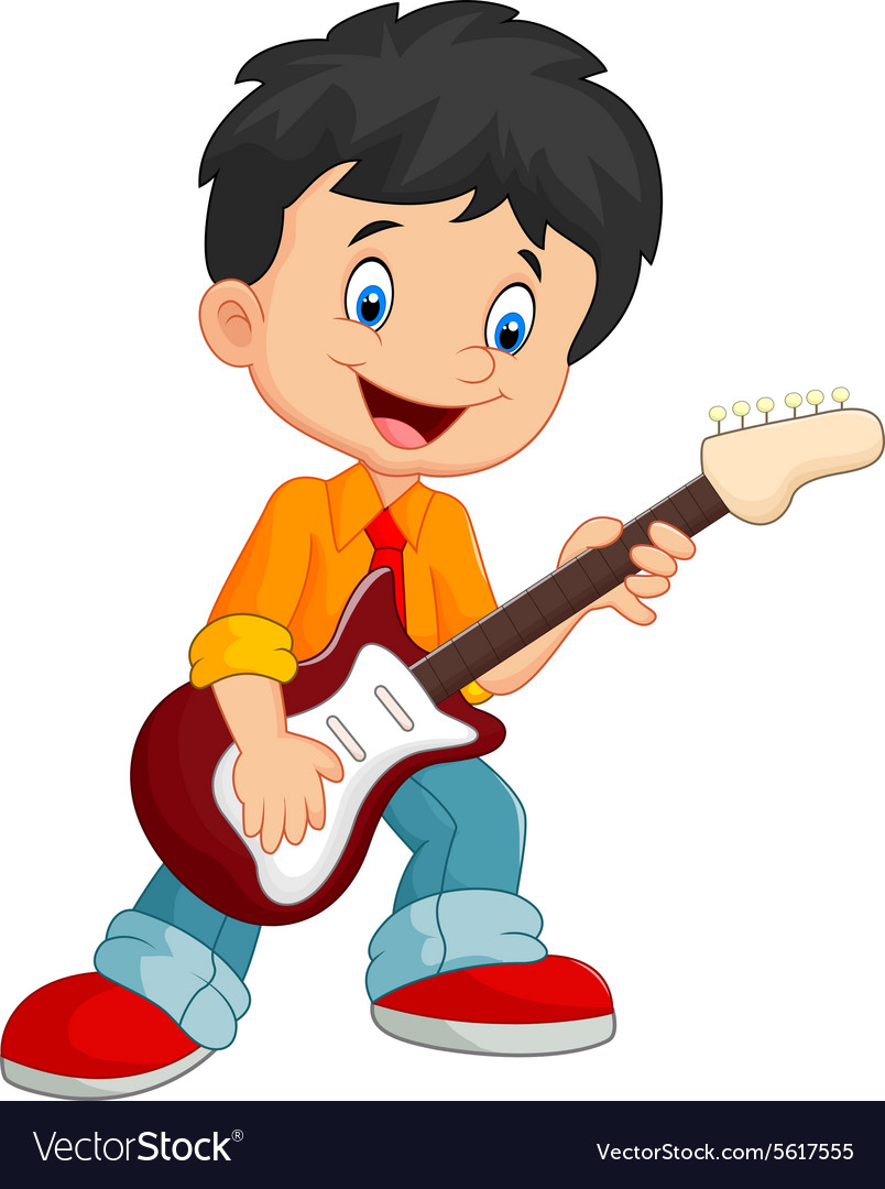 cartoon child play guitar royalty free vector image. Black Bedroom Furniture Sets. Home Design Ideas