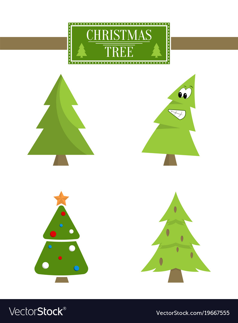 Christmas Tree Icons.Christmas Tree Sign Board Collection Spruce Icons