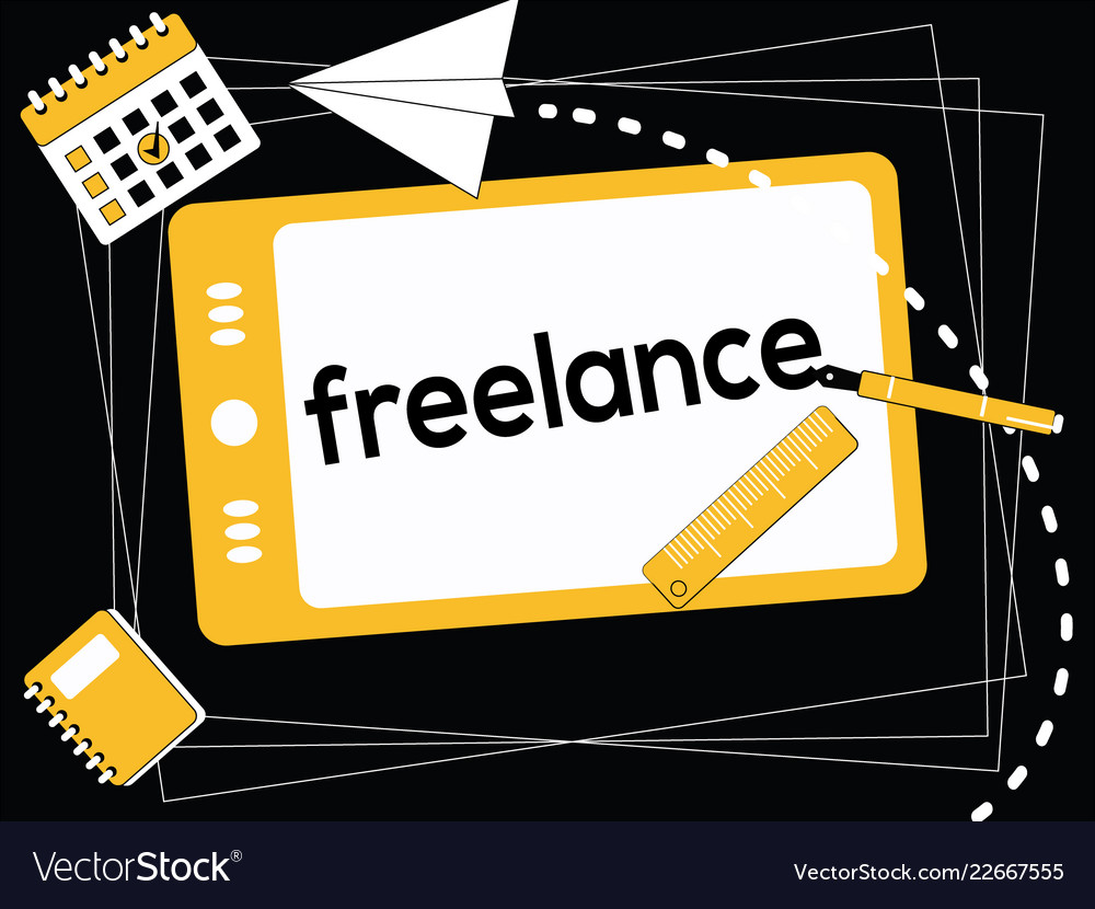 Creative word concept freelance and icons