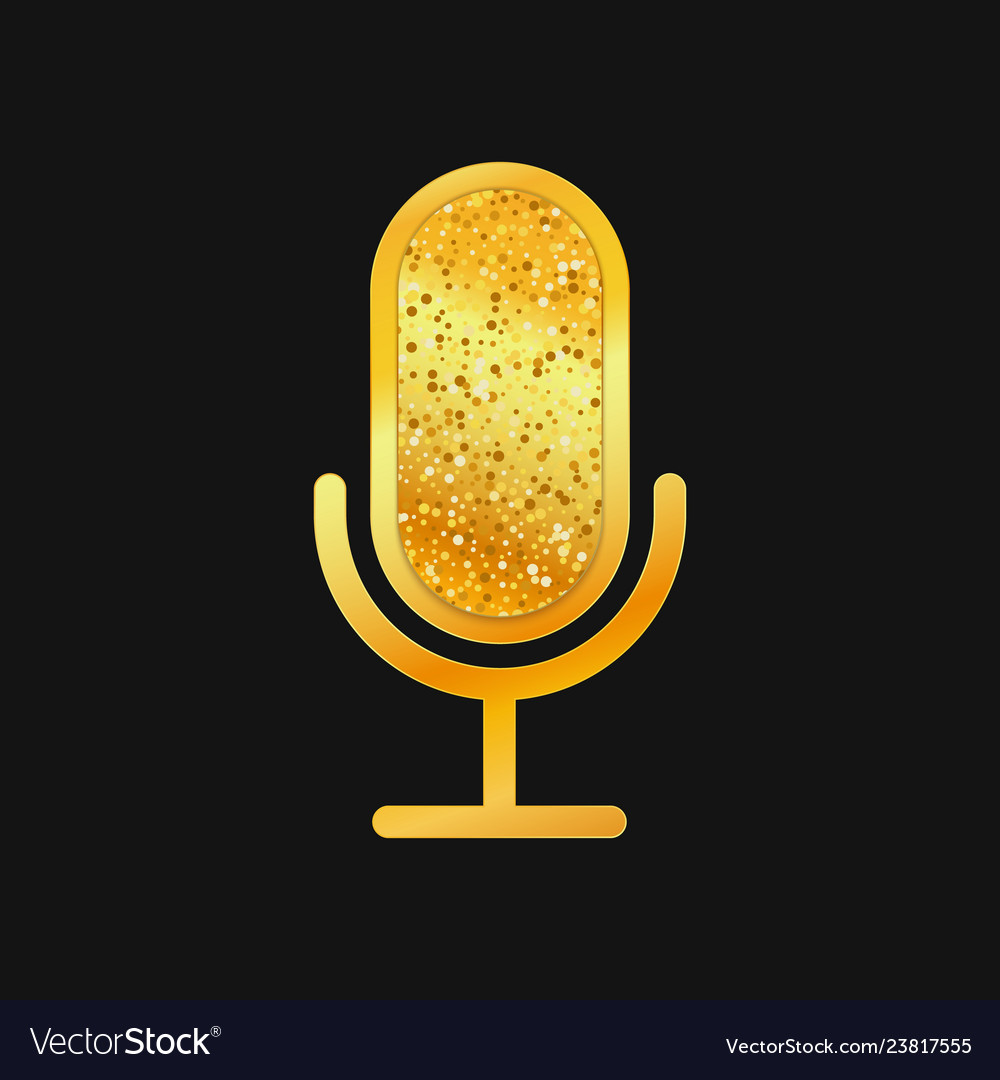 Golden microphone icon on black background