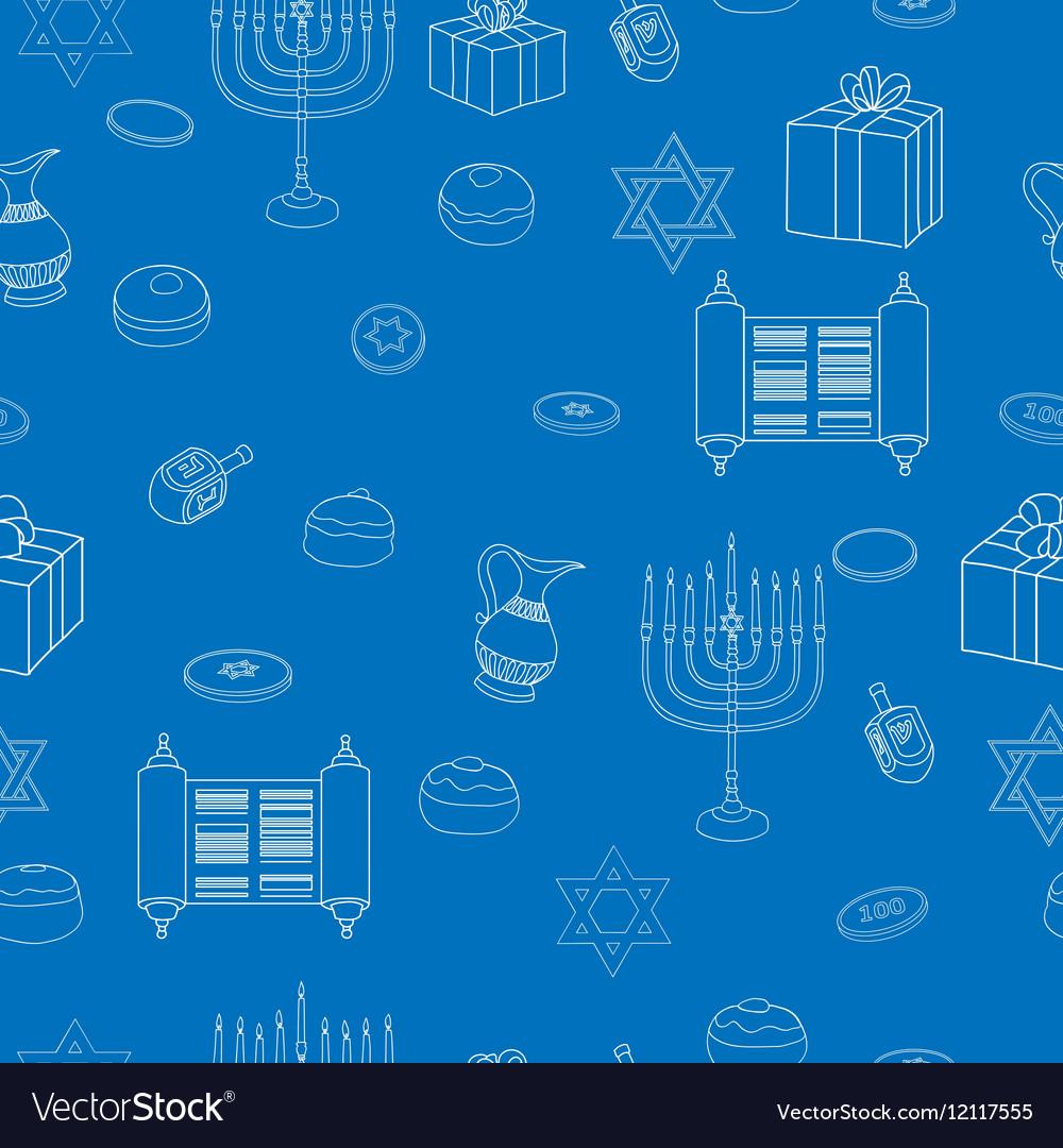 Happy Hanukkah Holiday Seamless Pattern Background