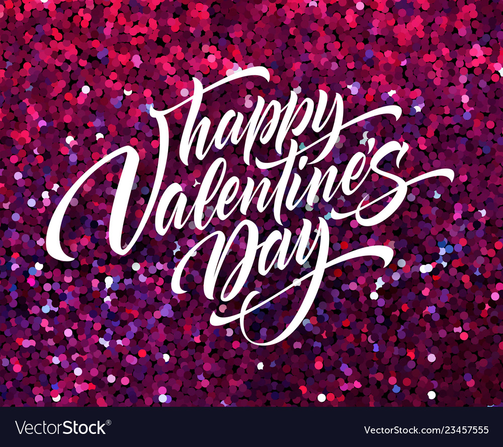 Happy valentines day lettering greeting card on