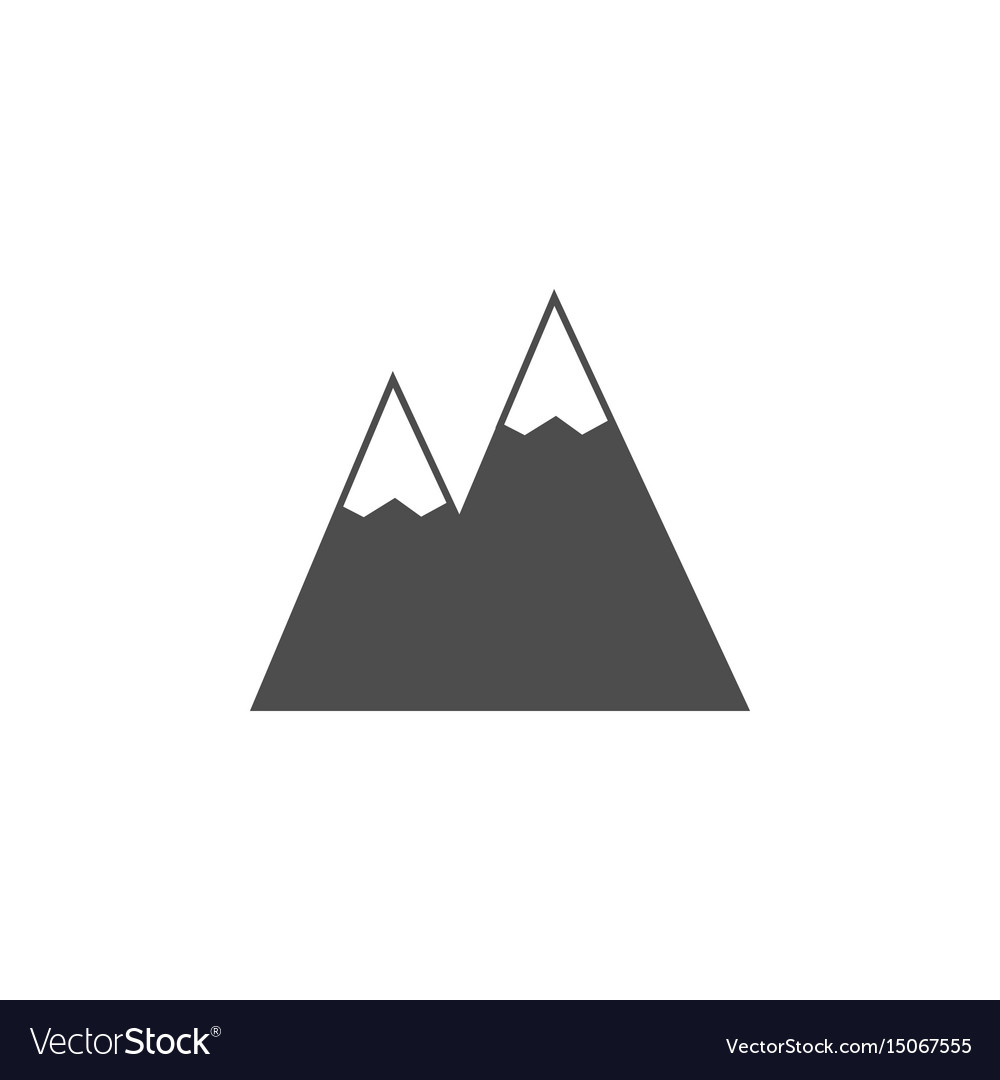Mountains solid icon navigation and travel sign vector image